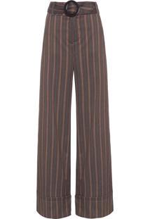 Calça Feminina Pantalona Listras - Marrom