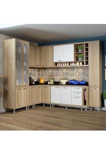 Cozinha Completa 16 Portas Com Tampo E Vidro 5805 Branco/Argila - Multimóveis