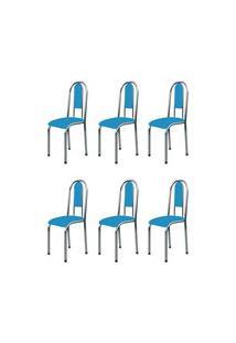 Kit 6 Cadeiras Anatômicas 0.122 Estofada Cromado/Azul - Marcheli