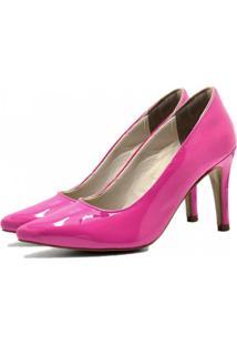 Scarpin Verniz Bico Fino Fandarello Rosa Pink
