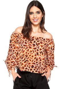 Blusa Cropped Lez A Lez Girafa Laranja/Marrom