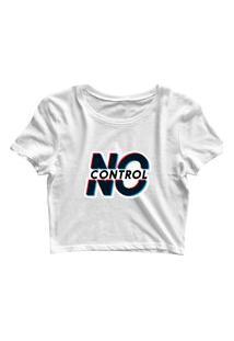 Blusa Blusinha Feminina Cropped Tshirt Camiseta No Control Branco