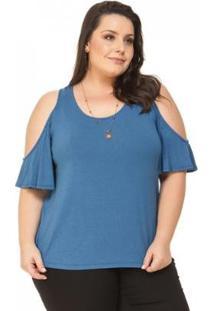 Blusa Plus Size Ombros Vazados Miss Masy Plus Feminina - Feminino-Azul