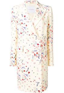 Ermanno Scervino Casaco Com Estampa Floral E Abotoamento Duplo - White