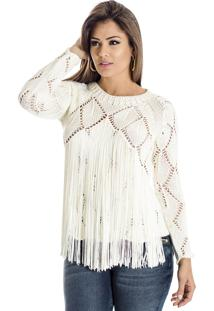 Blusa Tricot Ateen Franja Off White