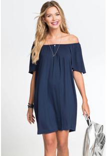 Vestido Ombro A Ombro Com Fenda Azul Marinho
