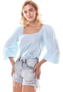 Blusa Limelight Jeans Decote Quadrado Azul
