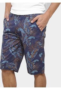 Bermuda Sarja Watkins&Krown Estampa Tropical Masculina - Masculino-Azul
