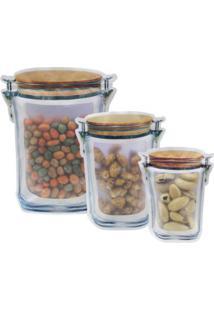 Kit 3 Sacos Pote Hermético Zip Para Alimentos Ecobag