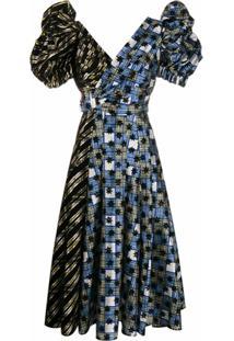 Chopova Lowena Vestido Com Mangas Bufantes - Azul