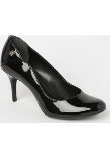 Sapato Tradicional Com Recorte- Preto- Salto: 8Cmloucos E Santos