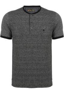 Camiseta Seeder Com Botões Masculina - Masculino-Preto