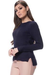 Blusa Logan Tricot Clássica Ponto Arroz - Feminino-Azul Escuro