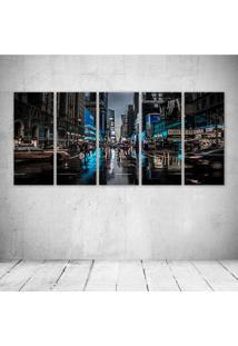 Quadro Decorativo - New York Blue City - Composto De 5 Quadros
