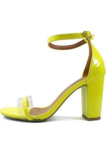 Sandália Zhaceci Salto Alto Bloco Neon Feminina - Feminino-Amarelo