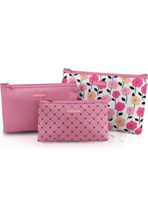 Kit De Necessaire De 3 Peças Jacki Design Pink Lover Rosa