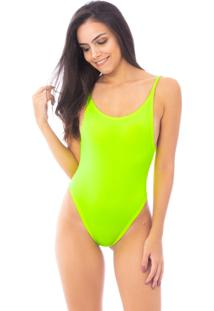 Body Moda Vício Decote Costas Alça Fina Amarelo Neon