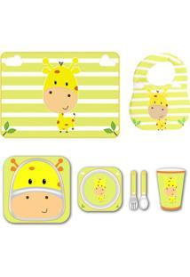 Kit Alimentação + Babador + Jogo Americano - Girafa - Unik Toys Amarelo