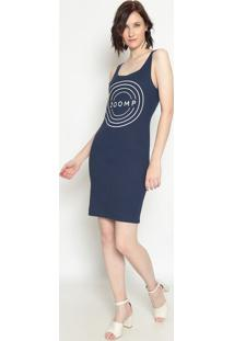 Vestido Canelado ''Zoomp''- Azul Marinho Branco- Zzoomp