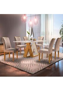 Conjunto De Mesa De Jantar Belle Com Vidro E 6 Cadeiras Suede Off White E Bege