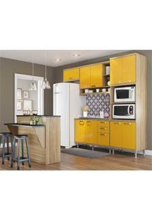 Cozinha Completa Multimóveis Com 5 Peças Sicília 5843 Argila/Amarelo