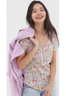 Camiseta Gap Floral Lilás