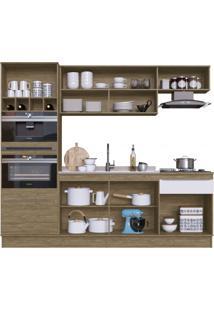Cozinha Completa Com Adega 7 Portas 2 Gavetas Flip Decibal Wood / Branco