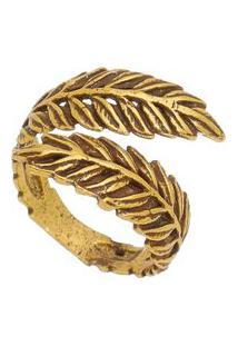 """Anel """"Folha"""" Texturizado Banhado A Ouro Velho- Ouro Velhisabela Borgonian"""