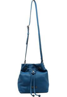 Bolsa Em Couro Transversal Recuo Fashion Bag Azul Turquesa