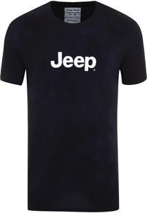 Camiseta Jeep Washed Tie Dye Azul Marinho