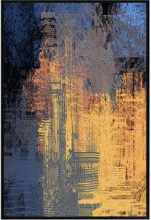 Quadro Decorativo Abstrato- Preto & Azul- 60X80Cm
