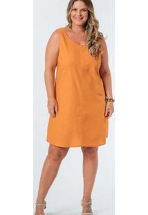 Vestido Almaria Plus Size Munny Curto Liso Laranja