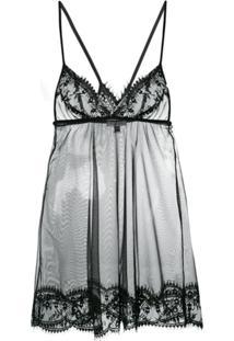 Gilda & Pearl Camisola Transparente Com Renda 'Deshabille' - Preto