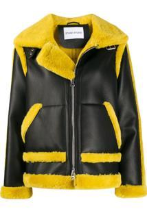 Stand Shearling Detail Jacket - Preto