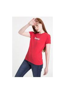 Camiseta Tommy Jeans Essential Logo Vermelho Tam. Egg