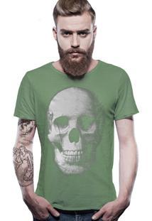 Camiseta Joss Estonada Corte À Fio Caveira - Verde