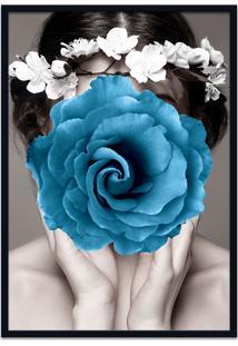 Quadro 60X90Cm Amália Mulher Com Flor Azul Nórdico Moldura Preta Sem Vidro