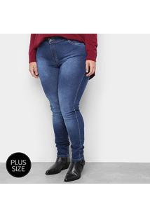 Calça Jeans Plus Size Razon Skinny Feminina - Feminino-Azul