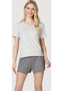 Pijama Curto Feminino Com Decote V