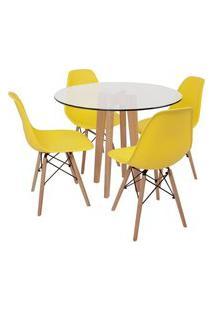 Conjunto Mesa De Jantar Em Vidro 90Cm Com Base Vértice + 4 Cadeiras Eiffel - Amarelo