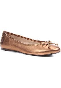 Sapatilha Shoestock Metalizada Laço Feminina - Feminino-Bronze