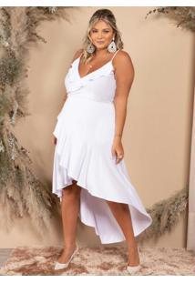 Vestido Longo Branco Assimétrico Com Babados