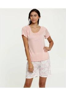 Pijama Estampa Floral Manga Curta Marisa Feminino - Feminino-Rosa