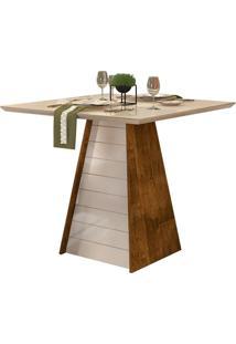 Mesa De Jantar Quadrada Com Tampo De Vidro Gris Tronco E Creme 90 Cm