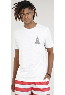 Camiseta Masculina Com Estampa De Coqueiro Manga Curta Gola Careca Off White