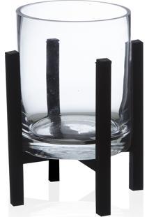Porta Vela Base Vidro Transparente/Preto 21X13Cm