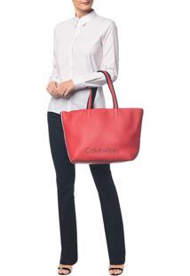 Bolsa Calvin Klein Logo Em Relevo Vermelho - U