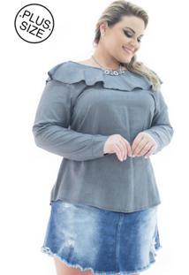 Blusa Plus Size - Confidencial Extra Manga Longa London Com Babado Plus Size Cinza