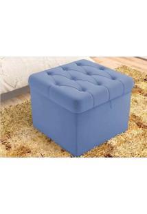 Puff Banco Decorativo Baú Quadrado 51Cm Com Capitone Azul