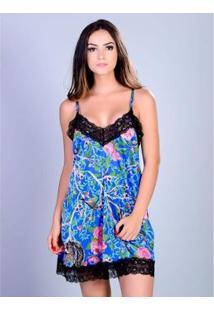 Camisola Curta Silk Satin Yasmin Lingerie Feminina - Feminino-Azul